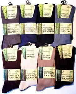 6 Pairs Of Mens Bamboo Loose Top Coloured Super Soft Anti Bacterial Socks 6-11