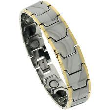 Tungsten Carbide Magnetic Bracelet w/ Gold-tone Edge Bar Links