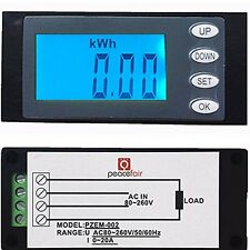 Clear 20A AC Digital Panel Power Meter Monitor KWh Time Watt Voltmeter Ammeter