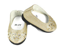 "Gold Glitter Ballet Flats Shoes For 14.5"" American Girl Wellie Wishers doll"