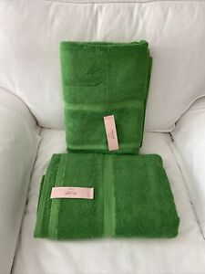 "Kate Spade New York Green Bath Towels 30""x 56"" Set of 2 NWT"