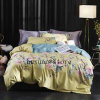 Luxury 100% Egypt Cotton Printed Bedding Set Soft Duvet Cover Queen King Sz 4Pcs