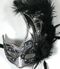 FEATHER MASQUERADE BALL PARTY Mardi Gras MASK BLACK/SILVER