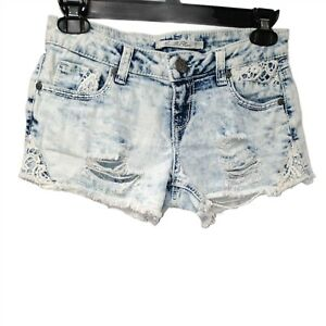 Vanilla Star Jean Shorts Acid Wash Shirt Distressed Womens Juniors 3