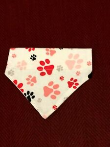 Over Collar Slide On Pet Dog Cat Bandana Scarf  RED & PINK PAW PRINTS  XSMALL