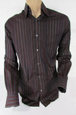 Ermenegildo Zegna Men Dark Purple Black Stripes Dressy Shirt Long Sleeves Large