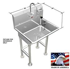 """HAND WASH SINK SINGLE STATION 28"""" ELECTRONIC FAUCET FREE STANDING MADE IN USA"""