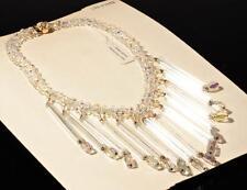 Vintage knitted fringe necklace long pentagon vitrail crystal Czech glass beads