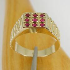 0.45 carat Natural Ruby Square Signet Ring Genuine 375 9k 9ct Yellow Gold, R299