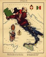 MAP ANTIQUE CARICATURE HARVEY 1868 ITALY OLD LARGE REPLICA POSTER PRINT PAM0735
