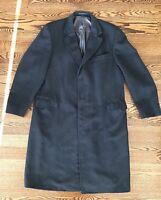 J. Press Mens' 100% Wool Herringbone Black Topcoat Overcoat Coat Jacket 44 Tall
