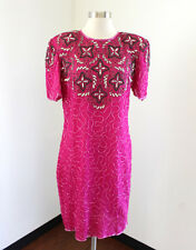 Vtg 80s Pink Silk Beaded Sequin Cocktail Party Dress Size M Formal Evening