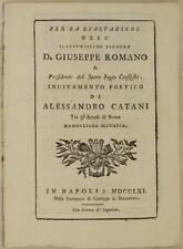 ALESSANDRO CATANI PER LA ESALTAZIONE GIUSEPPE ROMANO ARCADIA ROMA METOPIO 1761