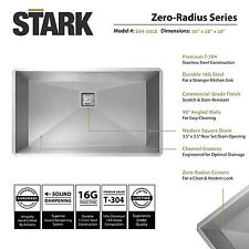 "30"" inch Undermount Single Bowl Stainless Steel Kitchen Sink Zero Radius Square"