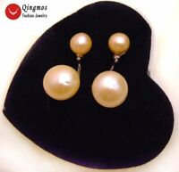 9-10mm Natural Pink Flat Round Pearl Earring for Woman Double Sided Stud Earring