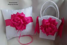 Wedding Ring Bearer Pillow Flower Girl Basket with Handmade Dark Rose Satin Rose