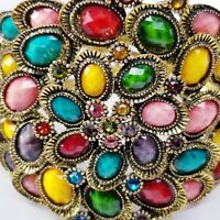 "2.5"" Wide Hinged Bangle Bracelet Faceted Jewel Toned Faux Stones Rhinestones"