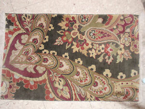 VINTAGE SURYA RUG 100% WOOL FROM INDIA 38 X 24 INCHES TAJ MAHAL COLLECTION GREEN