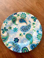 "Royal Norfolk Paisley Print Dinner Plate (1) 10"" Blue Green butterfly Paisley"
