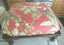 Vintage Upholstered Large Square WOOD OTTOMAN FOOT STOOL