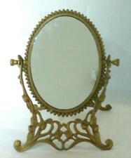 Art Nouveau Cast Brass Tulip Vanity Mirror