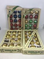 4 Boxes Vintage PYRAMID HOLLY Glass Christmas Tree Ornaments Balls Multi Color