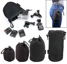 Black Clip On GoPro Carry Case Bag For Go Pro 4, HERO. 3+, 3, 2, 1 HD (S M L XL)