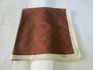 "USED DARK BROWN LOGO PATTERN COTTON 18"" HANDKERCHIEF POCKET SQUARE FOR MEN"