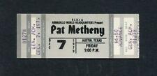 1979 Pat Metheny Unused Concert Ticket Austin Texas Armadillo American Garage