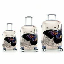Juego de 3 maletas rigidas lisas de 4 ruedas giratoria 360 maleta MARIPOSAS