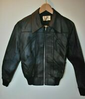 Vintage 1970's black leather dagger collar bomber jacket size small 36 rocker