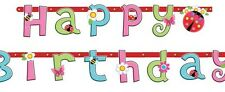 Amscan Pink Girls HAPPY BIRTHDAY Letter Banner Jointed Garland Ladybug 2.3m