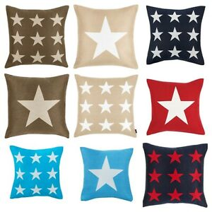 Bedding Heaven® STARS CUSHION COVER. Beige, Brown, Turquoise, Navy, Red, Grey.