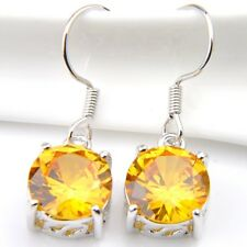 Summer Shiny Gift Round Cut Natural Golden Citrine  Silver Dangle Hook Earrings