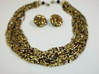 """Vintage Retro 22 multi strand Glass Seed beaded necklace set 16"""" clip earrings"""