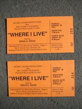 WHERE I LIVE STARRING DOUG E DOUG 2 ORIGINAL1992 AUDIENCE TICKETS WALT DISNEY
