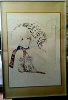 Vintage Framed Art Print Woman Wearing Scarf w/ Kittens William Tara 27.5 x 19.5