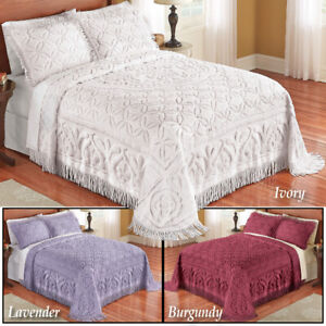 Wedding Ring Style Victoria Plush Chenille Fringe Twin Size Bedspread