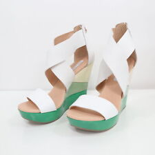 d7d641c597b73 DvF Wedge Sandals Opal Womens 8.5M Platform White Green Ombre Leather