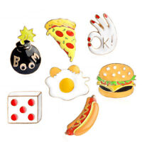 Enamel Pizza Hamburger Brooch Pins Shirt Collar Pin Breastpin Jewelry Gift S jo