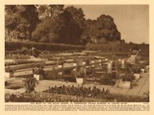 The Dutch garden at Kensington Palace guarded by locked gates 1926 old print