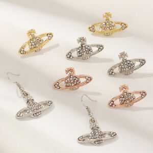 Crystal Saturn Heart Orb drop dangle stud earrings rhinestone silver gold