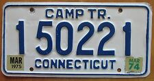 Connecticut 1975 CAMP TRAILER License Plate # 150221