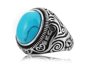Vintage Blue Turquoise Stone Silver Titanium Stainless Steel Ring Men 8-12