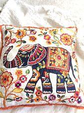 Decorative Cotton Elephant 18x18  Thread Embroidered Throw Pillow