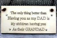 Grandad Gift Christmas Plaque Sign Birthday Baby Accouncement Father's Day