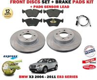 FOR BMW X3 E83 2004- 2011 NEW FRONT BRAKE DISCS SET + PADS KIT + WIRE SENSOR