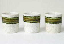 3 vtg 1970s Royal Worcester Palissy CROFTER green egg cups retro speckled