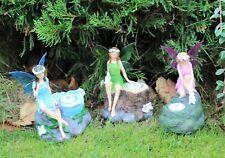 Solar Garden Ornament Fairy Statue Spotlights (Triple Pack) Gift Outdoor indoor