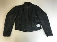 "Louis Motorcycle Jacket Real Leather Black Armpit 21"" Lgth 22"" (556)"
